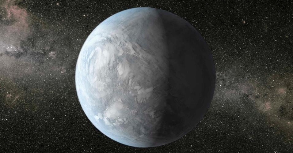 5.nov.2013- Uma em cada cinco estrelas similares ao Sol na Via Láctea possuem planetas do tamanho da Terra, que poderiam abrigar vida, revela novo estudo da Nasa (Agência Espacial Norte-Americana). Na imagem, impressão artística do Kepler-62e, uma super-Terra na zona habitável de uma estrela menor e mais fria que o Sol, a 1.200 anos-luz de distância