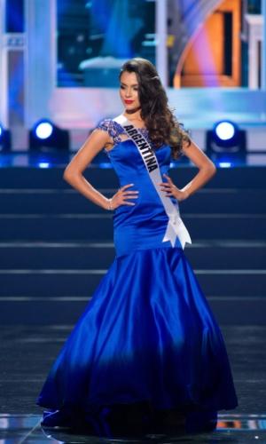 5.nov.2013 - Brenda Gonzalez, Miss Universo Argentina 2013, desfila em traje de gala durante Competição Preliminar do Miss Universo. A final acontece neste sábado (9) em Moscou, na Rússia