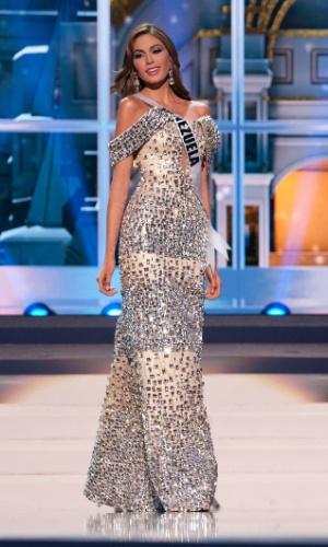 5.nov.2013 - Gabriela Isler, Miss Universo Venezuela 2013, desfila em traje de gala durante Competição Preliminar do Miss Universo. A final acontece neste sábado (9) em Moscou, na Rússia