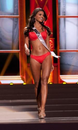 5.nov.2013 - Jakelyne Oliveira, Miss Brasil 2013, desfila de biquíni durante Competição Preliminar do Miss Universo. A final acontece neste sábado (9) em Moscou, na Rússia