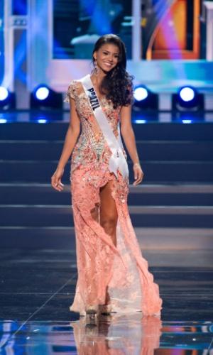 5.nov.2013 - Jakelyne Oliveira, Miss Brasil 2013, desfila em traje de gala durante Competição Preliminar do Miss Universo. A final acontece neste sábado (9) em Moscou, na Rússia
