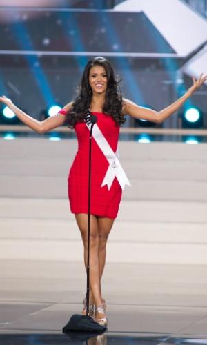 5.nov.2013 - Jakelyne Oliveira, Miss Brasil 2013, se apresenta durante Competição Preliminar do Miss Universo. A final acontece neste sábado (9) em Moscou, na Rússia
