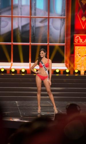 5.nov.2013 - Monic Perez, Miss Universo Porto Rico 2013 desfila de biquíni durante Competição Preliminar do Miss Universo. A final acontece neste sábado (9) em Moscou, na Rússia