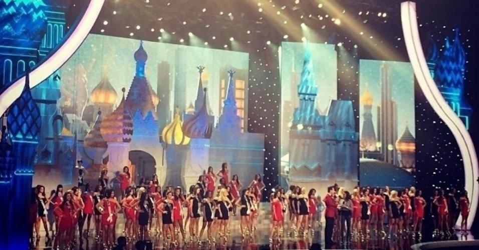 9.nov.2013 - Candidatas ao título de Miss Universo 2013 durante a seleção que escolheu as 16 finalistas em voto aberto ao público. A brasileira Jakelyne Oliveira conseguiu se classificar