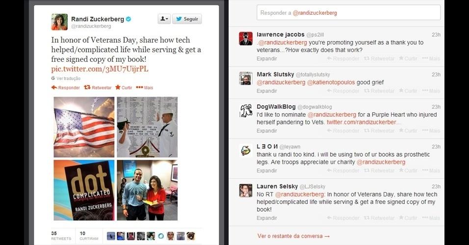 12.nov.2013 - Randi Zuckerberg, 31, irmã do cofundador do Facebook, Mark Zuckerberg, aproveitou o Dia dos Veteranos de Guerra nos Estados Unidos para promover seu livro sobre vida digital ''Dot Complicated: Untangling Our Wired Lives'' (Ponto Complicado: Desembaraçando Nossas Vidas Digitais, em tradução livre). Ela disse no Twitter que daria uma cópia autografada a quem respondesse ''como a tecnologia complicou/descomplicou'' sua vida servindo às Forças Armadas. Vários seguidores criticaram Randi pela ''falta de sensibilidade'' ao usar uma data de pesar e tristeza para se autopromover
