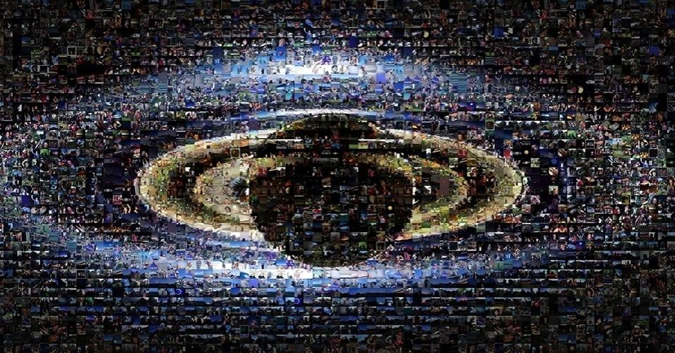 12.nov.2013- No dia 19 de julho de 2013, pessoas foram convidadas a mandar fotos para a Nasa (Agência Espacial Norte-Americana) acenando para Saturno. A ideia era sair na foto (clique na seta da esquerda) que a sonda Cassini tirou do planeta com a Terra no fundo. A agência então fez este mosaico com as imagens enviadas pelas pessoas formando a foto tirada pela sonda