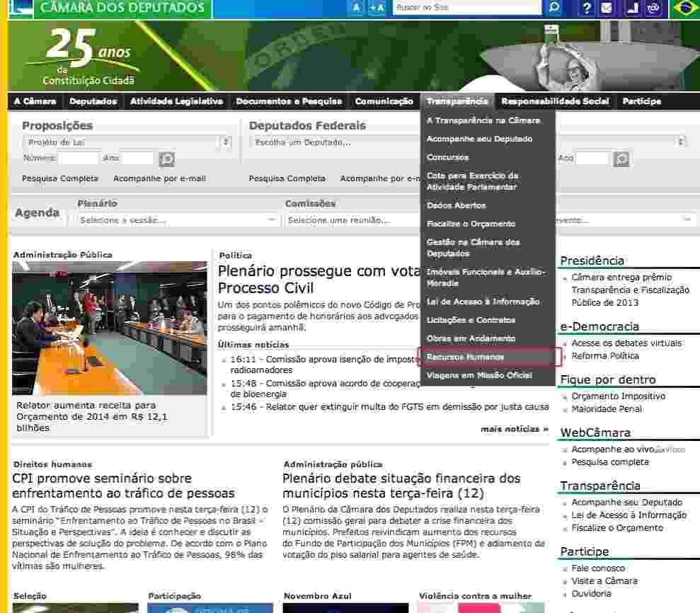 """CÂMARA 1/7: Em www.camara.leg.br, acesse o menu """"Transparência"""" e clique em """"Recursos Humanos"""" - Reprodução"""