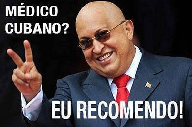 Esta montagem postada em um perfil do Facebook destinado a críticas ao programa mostra o ex-presidente Hugo Chavez, que foi tratado de câncer em Cuba