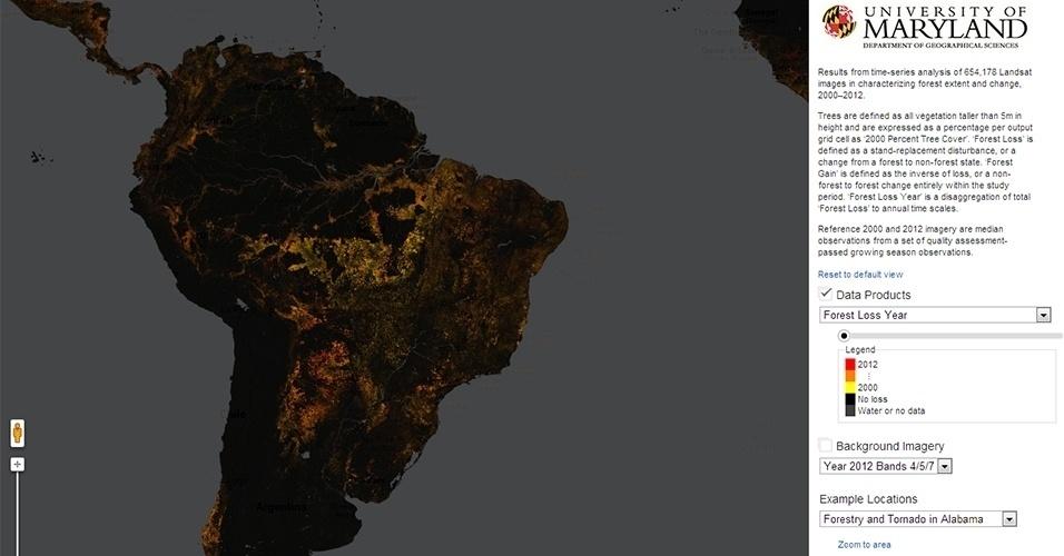14.nov.2013- Cientistas criaram primeiro mapa global em alta resolução das mudanças em coberturas florestais no século 21. Matthew Hansen e seus colegas junto com o Google criaram um site que mostra um visão detalhada de cada área do mundo e seus ganhos e perdas de florestas de 2000 a 2012 - neste período, foram perdidos 2,3 milhões de quilômetros quadrados de floresta (área um pouco menor do que a Argentina). O mapa foi feito a partir de imagens de satélite com uma resolução de 30 metros