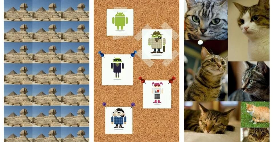 Aplicativos criam wallpapers personalizados. Entre as opções está o Wallpaper Maker, para Android, que permite ''prender'' (com direito a alfinetes ou fita adesiva) suas fotos preferidas em um mural de cortiça