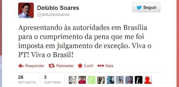 16.nov.2013 - O ex-tesoureiro do PT Delúbio Soares anuncia pelo Twitter sua apresentação à Polícia Federal na manhã deste sábado - Reprodução