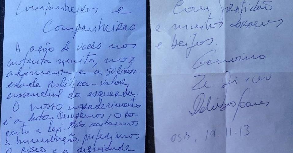 19.nov.2013 - Em carta entregue por um dos advogados de Delúbio Soares a militantes do PT, o ex-tesoureiro da legenda, o ex-presidente da sigla José Genoino e o ex-ministro José Dirceu agradecem o apoio e afirmam que não aceitam a