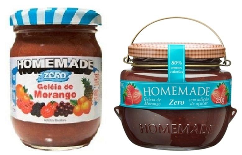 Embalagens antiga e atual da geleia Homemade