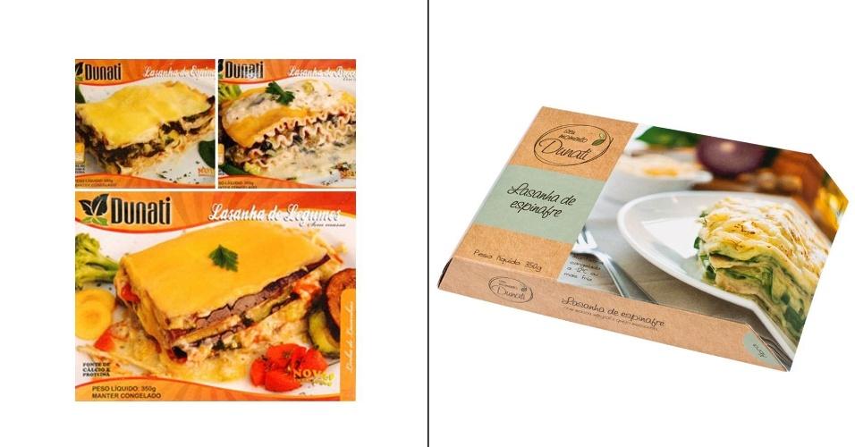Embalagens antiga e atual de comida congelada da empresa Dunati, de São José (SC)