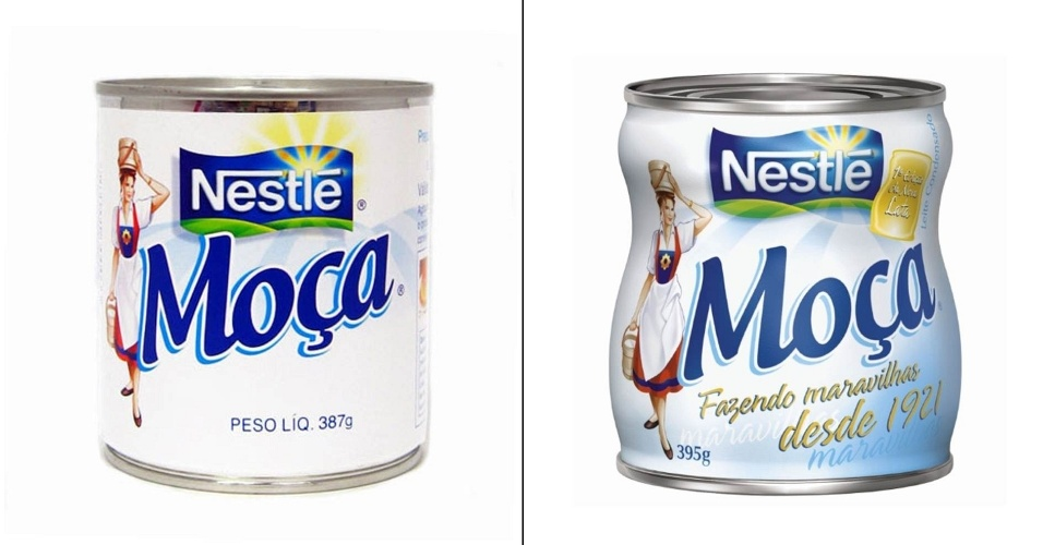 Embalagens antiga e atual de Leite Moça, da Nestlé