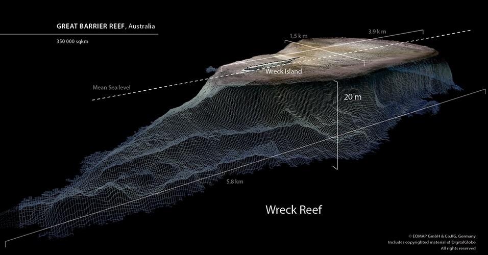 20.nov.2013 - Grupo de cientistas desenvolveu pela primeira vez um mapa digital de toda a área que cobre a Grande Barreira de Corais, localizada no nordeste da Austrália. Os cientistas australianos e alemães criaram um mapa em 3D que inclui dados sobre a profundidade da área de mais de 350 mil km², onde até agora quase a metade das águas superficiais não tinham sido capturadas em documentos digitais