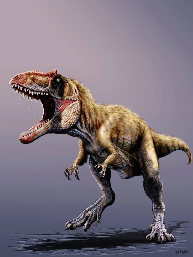 22.nov.2013 -Imagem divulgada nesta sexta-feira (22) mostra o Siats meekerorum, uma nova espécie de dinossauro que conviveu com os tiranossauros há 98 milhões de anos. A espécie recém-descoberta seriam um dos três maiores dinossauros da América do Norte. Segundo pesquisadores, o Siats era o grande predador do seu tempo
