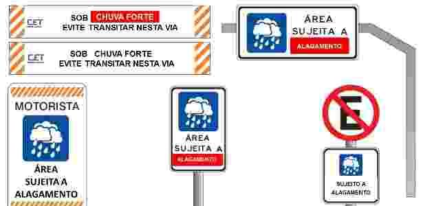 Placas vão indicar locais com possibilidade de alagamento durante o período de chuvas em São Paulo - Divulgação