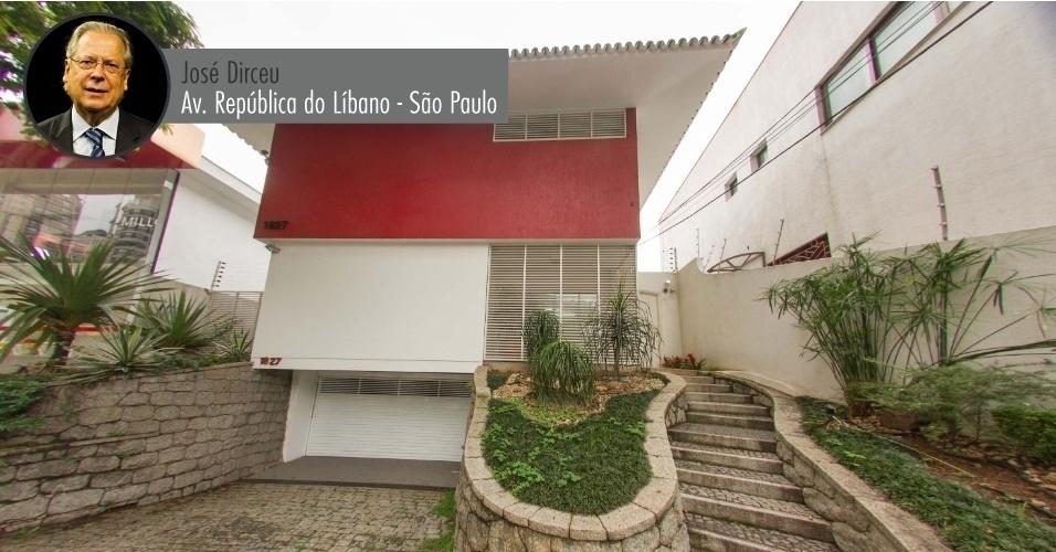 Fachada da casa pertencente ao ex-ministro José Dirceu, localizada na avenida República do Líbano, em São Paulo, e colocada à venda. A casa também poderá ser alugada. No local ainda funciona a J.D. Assessoria e Consultoria. Dirceu teria pago R$ 1,6 milhão pelo imóvel em 2009