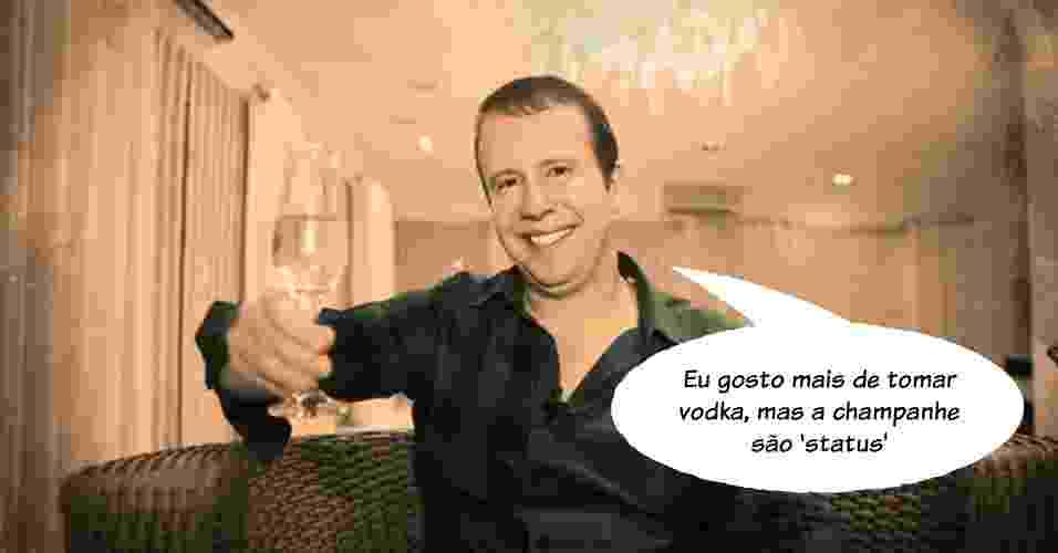 """6.nov.2013 - """"Eu gosto mais de tomar vodka, mas a champanhe 'são status'"""", disse Alexander de Almeida, o """"Rei do Camarote"""", ao listar dez coisas para ser bem-sucedido na noite da alta sociedade paulistana - Arte/UOL"""