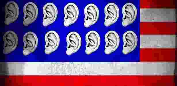 Bandeira dos EUA cheia de ouvidos: o sonho de transparência resultou em hipervigilância - McDonald, El Heraldo (Tegucigalpa, Honduras)/ CartoonArts International