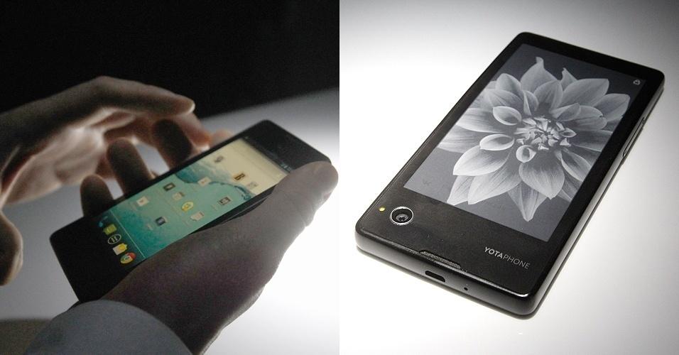 4.dez.2013 - O smartphone YotaPhone foi apresentado oficialmente na Rússia, onde começou a ser vendido pelo equivalente a R$ 1.420. O diferencial do aparelho é o uso de duas telas com 4,3 polegadas: uma LCD na parte da frente (esq.), outra com a tecnologia de leitores digitais atrás (essa opção gasta menos bateria e facilita visualização em qualquer ambiente). Todo o conteúdo da tela principal pode ser salvo e exibido na parte traseira. O aparelho roda Android 4.2.2 (Jelly Bean), tem processador dual-core de 1,7 GHz, câmera de 13 megapixels, 2 GB de RAM e 32 GB de armazenamento