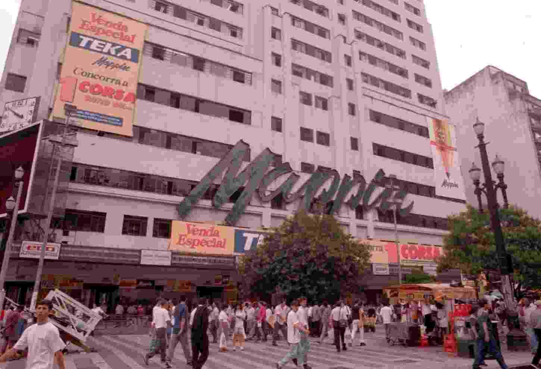Fachada do Mappin (Casa Anglo Brasileira S.A.), na praça Ramos. (São Paulo, SP, 06.02.1997) - Paulo Giandália/Folhapress