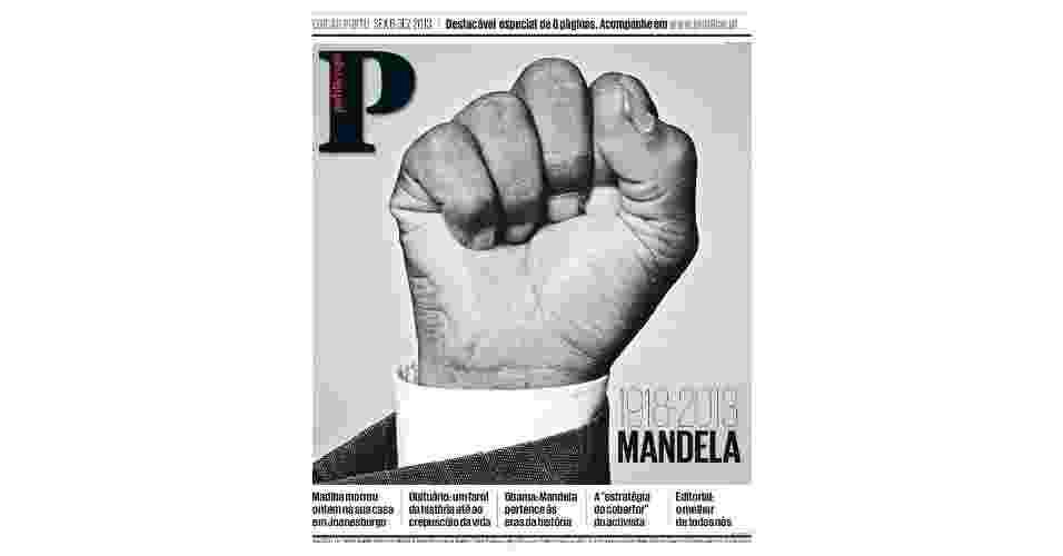 6.dez.2013 - O jornal português Publico estampou na capa de sua edição do dia seguinte à morte de Nelson Mandela a mão do líder sul-africano em punho cerrado. O gesto ficou famoso como expressão da luta de Mandela pela liberdade e pela democracia. Nelson Mandela morreu nesta quinta-feira (5) aos 95 anos - Reprodução