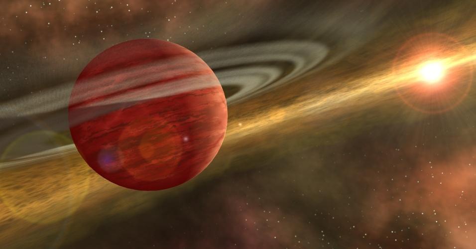 6.dez.2013 -Astrônomos dos EUA descobriram um planeta que não deveria existir pela teoria atual de formação de planetas. O planeta HD106906b é um gigante (11 vezes a massa de Júpiter) que orbita sua estrela a uma distância 650 vezes a distância média entre o Sol e a Terra.  Esta impressão artística mostra um jovem planeta orbitando uma estrela distante. A estrela ainda abriga um disco de detritos, materiais remanescentes da formação de estrelas e do planeta, interior à órbita do planeta
