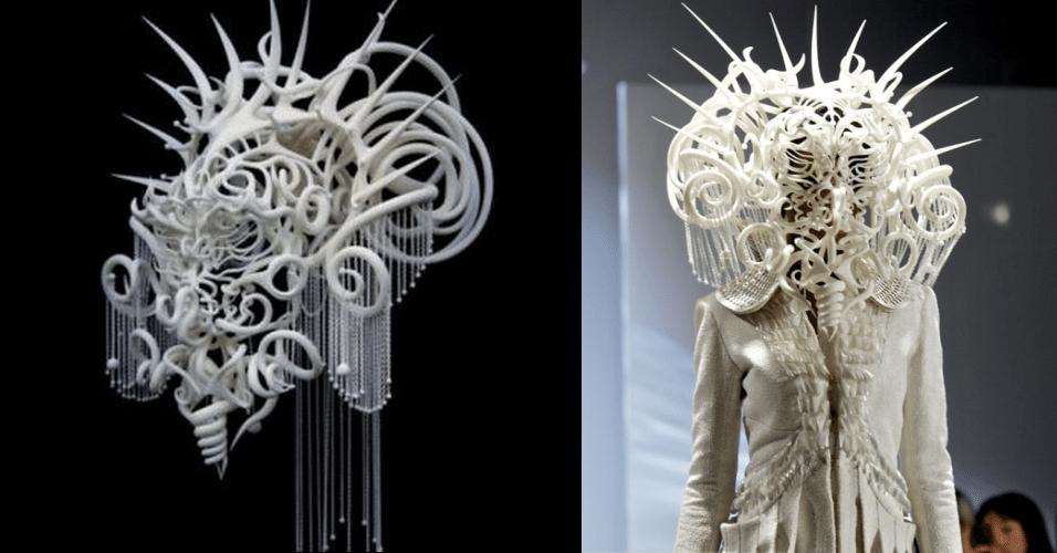Chamado de The Quixotic Divinity, essa espécie de capacete foi criada pelo artista Joshua Harker, utilizando uma impressora 3D. O objeto foi exibido em um desfile de moda em Londres, Inglaterra. Não há informações de preço ou disponibilidade de venda