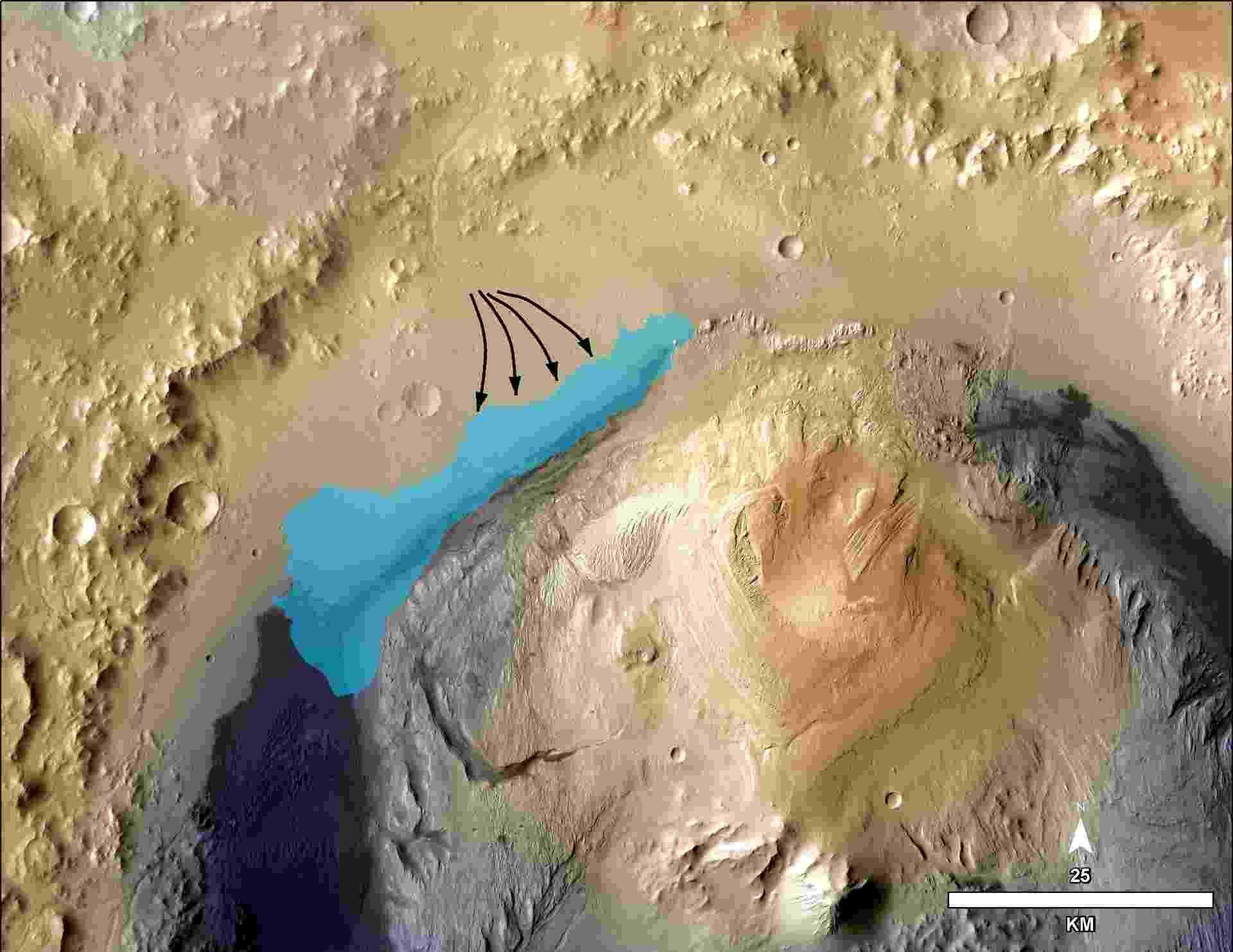 9.dez.2103 - Ilustração mostra concepção de possível extensão de lago nos primórdios da cratera Gale, em Marte. Cientistas acreditam que a sonda Curiosity, enviada pela Agência Espacial Norte-Americana (Nasa) a Marte, encontrou no planeta um local que já foi um lago com capacidade de abrigar vida, tendo teoricamente permitido que micróbios  habitassem e se reproduzissem em suas águas - Nasa/JPL-Caltech/MSSS