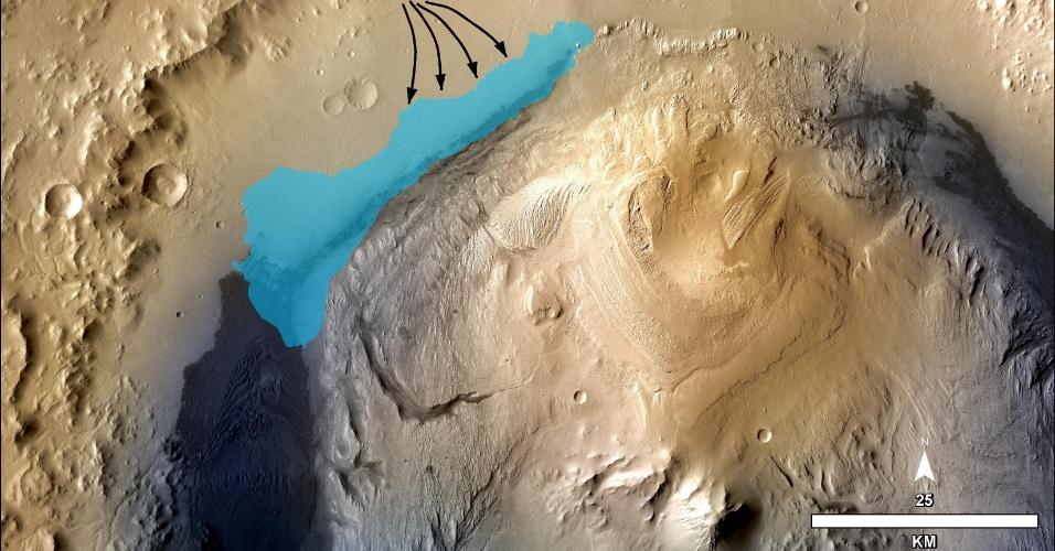 9.dez.2103 - Ilustração mostra concepção de possível extensão de lago nos primórdios da cratera Gale, em Marte. Cientistas acreditam que a sonda Curiosity, enviada pela Agência Espacial Norte-Americana (Nasa) a Marte, encontrou no planeta um local que já foi um lago com capacidade de abrigar vida, tendo teoricamente permitido que micróbios  habitassem e se reproduzissem em suas águas