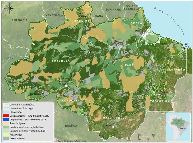 12.dez.2013 - O desmatamento da Amazônia Legal acumulado no período de agosto a novembro de 2013 foi 368 quilômetros quadrados. Houve redução de 70% em relação ao período anterior (agosto de 2012 a novembro de 2012) quando o desmatamento somou 1.206 quilômetros quadrados, apontam estudos independentes da ONG Imazon
