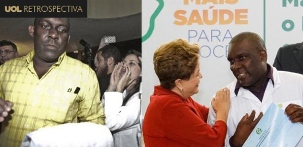 Juan Delgado ao ser hostilizado por colegas brasileiros (à esq.) e ao receber desculpas de Dilma - Jarbas Oliveira/Folhapress/Roberto Stuckert Filho/PR /Arte/UOL