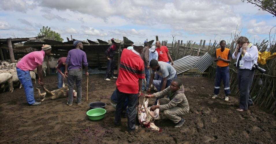 14.dez.2013 - Moradores abatem cabras como parte de um ritual de iniciação