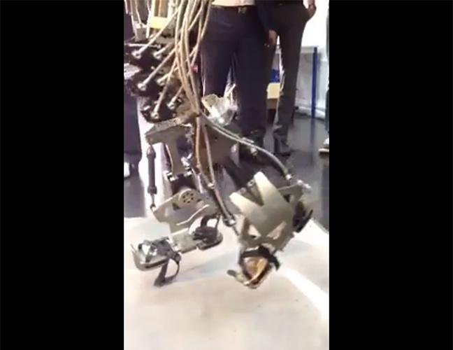 """15.dez.2013 - O cientista brasileiro Miguel Nicolelis apresentou um vídeo em sua página no Facebook em que mostra o chute de um exoesqueleto. Chamado """"Andar de novo"""", o projeto tem como objetivo fazer com que um paraplégico consiga dar o pontapé inicial na Copa do Mundo de 2014. Nas próximas semanas, a estrutura metálica deve ser testada por crianças da AACD (Associação de Assistência à Criança Deficiente)"""