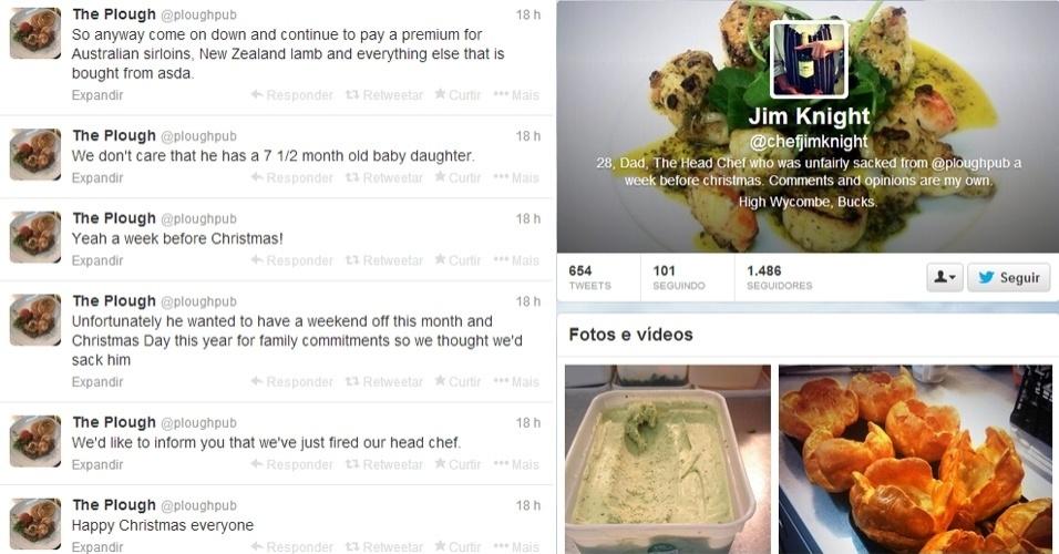 16.dez.2013 - O chef de cozinha britânico Jim Knight, 28, usou o Twitter do restaurante onde trabalhava, em Oxford, para anunciar sua demissão. No perfil @ploughpub (esq.), ele escreveu (em inglês): ''Gostaríamos de informar que acabamos de demitir nosso chef'', ''infelizmente ele queria um final de semana de folga neste mês e passar o dia de Natal com a família, então tivemos de demiti-lo'', ''sim, uma semana antes do Natal'' e ''não ligamos que ele tem uma filha de sete meses e meio''. Em seu próprio perfil (à dir), Knignt afirmou não ter invadido a conta: ''Eu a criei com a permissão de meus ex-patrões''
