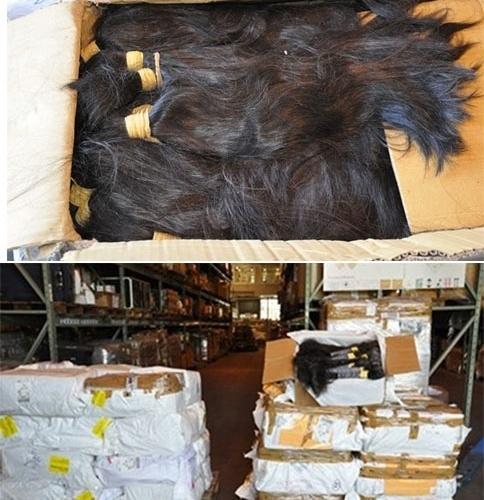 17.dez.2013 - A Receita Federal apreendeu uma caixa com uma tonelada de cabelo humano no aeroporto internacional de Guarulhos, em São Paulo. O cabelo, importado da Índia, foi declarado no valor de US$ 15 mil, mas equivale a US$ 400 mil