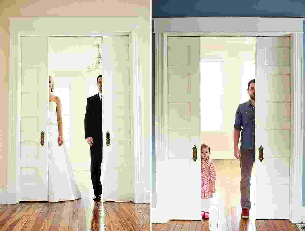 19.dez.2013 - Ben Nunery, 34, de Ohio (EUA), repete poses de fotos de casamento com sua filha de três anos, após perder a mulher, Ali, que morreu de um tipo raro de câncer de pulmão, em 2011 - undefined