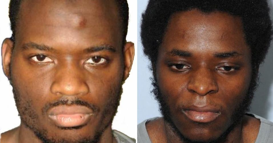 """19.dez.2013 - Michael Adebolajo (esquerda) e Michael Adebowale dois britânicos que se apresentam como """"soldados de Alá"""" foram reconhecidos culpados nesta quinta-feira em Londres do assassinato do soldado Lee Rigby, morto e quase decapitado em uma rua da capital britânica em 22 de maio"""