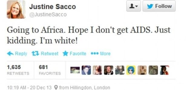 Reprodução do tuíte de Justine Sacco que diz que ela vai para a África espera não pegar aids - Reprodução Twitter/DailyMail
