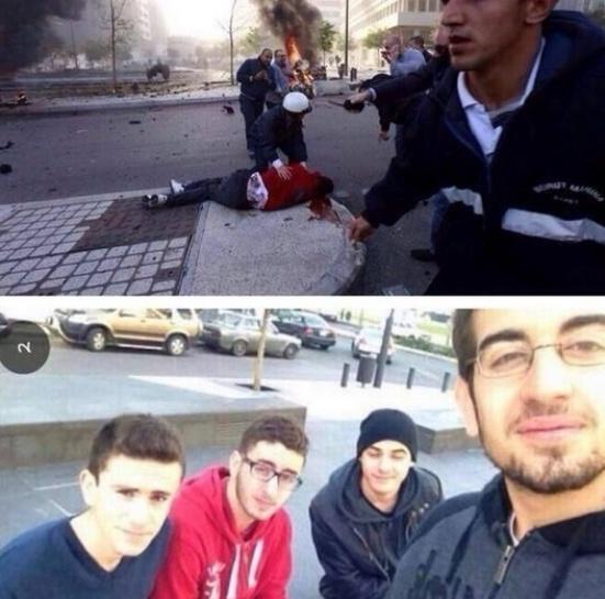 27.dez.2013 - Após tirar uma foto com os amigos, Mohammad al-Chaar (de blusa vermelha) morreu momentos depois na explosão de um carro-bomba em Beirute, no Líbano