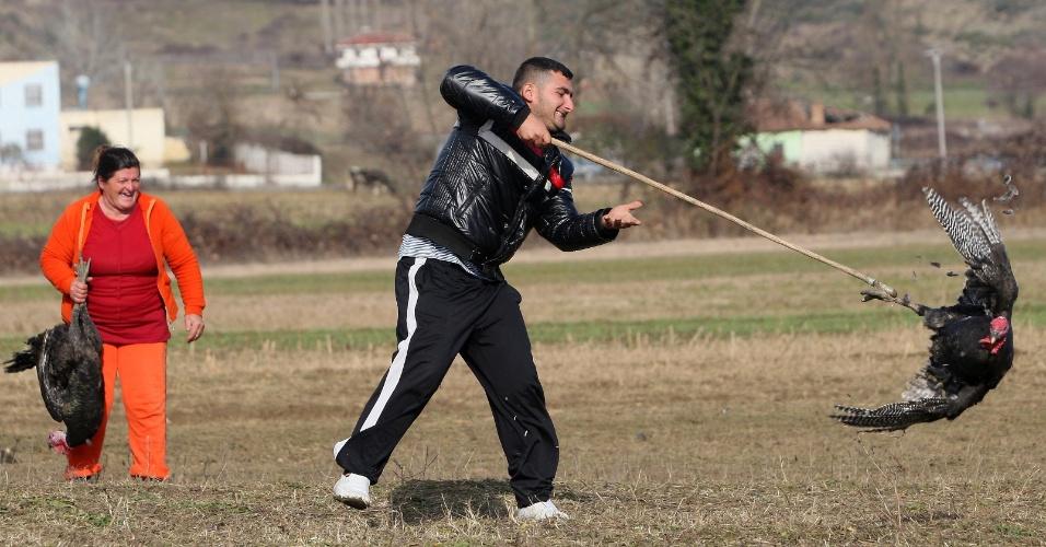 30.dez.2013 - Homem captura peru que será vendido para a ceia de Ano Novo, em Baldushk, na Albânia. O animal costuma ser comercializado por cerca de 7.000 leks (R$ 150), preço proibitivo para a maioria dos albaneses