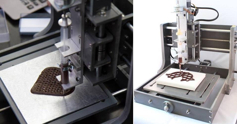 A companhia britânica Choc Edge desenvolveu uma impressora 3D que trabalha com chocolate em vez de plástico derretido. Chamada Choc Creator v1 e vendida por 2.888 libras (cerca de R$ 11 mil), o equipamento funciona como os equipamentos tradicionais do ramo: ele imprime desenhos feitos em programas 3D que são inseridos na impressora