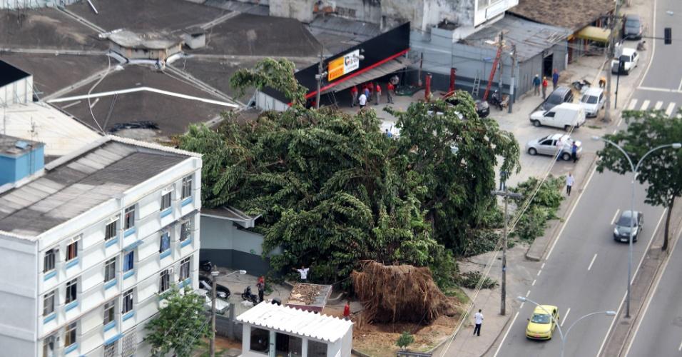 2.jan.2014 -Uma árvore tombou na rua Hanibal Porto, em Irajá, sobre o teto da loja de pneus, que fica na avenida Brasil, próximo ao Trevo das Margaridas, Rio de Janeiro