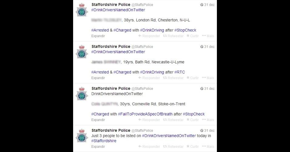 2.jan.2014 - A polícia dos condados britânicos de Staffordshire, West Midlands, Devon e Sussex está usando um meio ''polêmico'' para coibir motoristas de dirigirem embriagados. Pelo Twitter, são divulgados os nomes -- e até mesmo o endereço -- de quem é pego no teste do bafômetro. Segundo o ''Daily Mail'', a medida foi criticada por advogados e políticos locais, que alegam que a prática ''condenada as pessoas antes de serem julgadas pela Justiça''