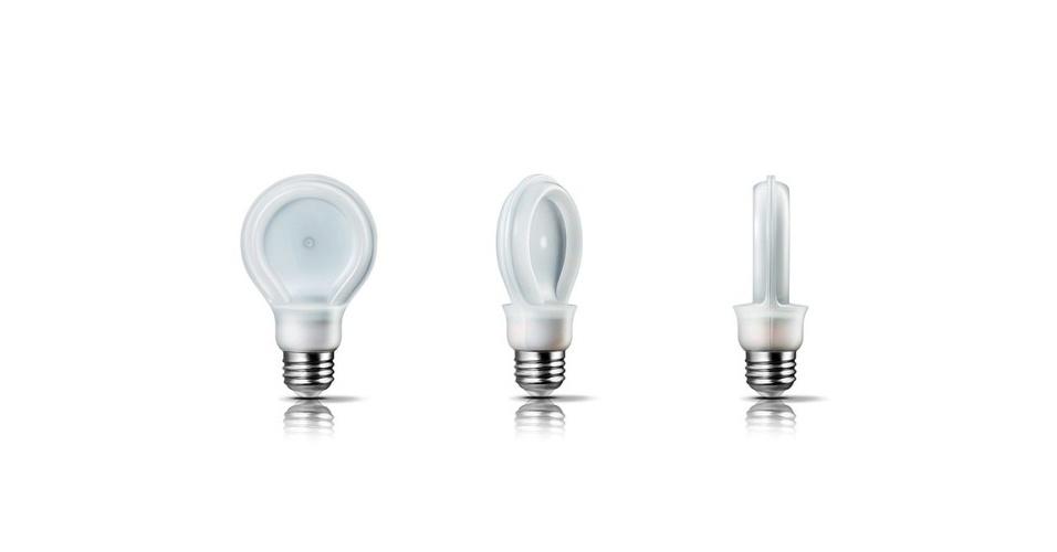 3.jan.2013 - A Philips vai lançar  uma lâmpada de LED que de perfil até lembra o formato das tradicionais incandescentes, mas na verdade tem design achatado. Segundo a fabricante, ela emite luminosidade comparável a lâmpadas de 60W, porém não esquenta e pode durar cerca de 22 anos. A SlimStyle será vendida a partir deste mês nos EUA por US$ 10 (R$ 23)