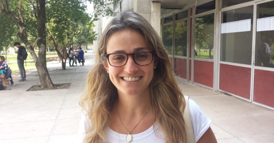 5.jan.2014 - Graziella Matarazzo, 28, concorre a uma vaga no curso de educomunicação; ela fez a segunda fase da Fuvest 2014
