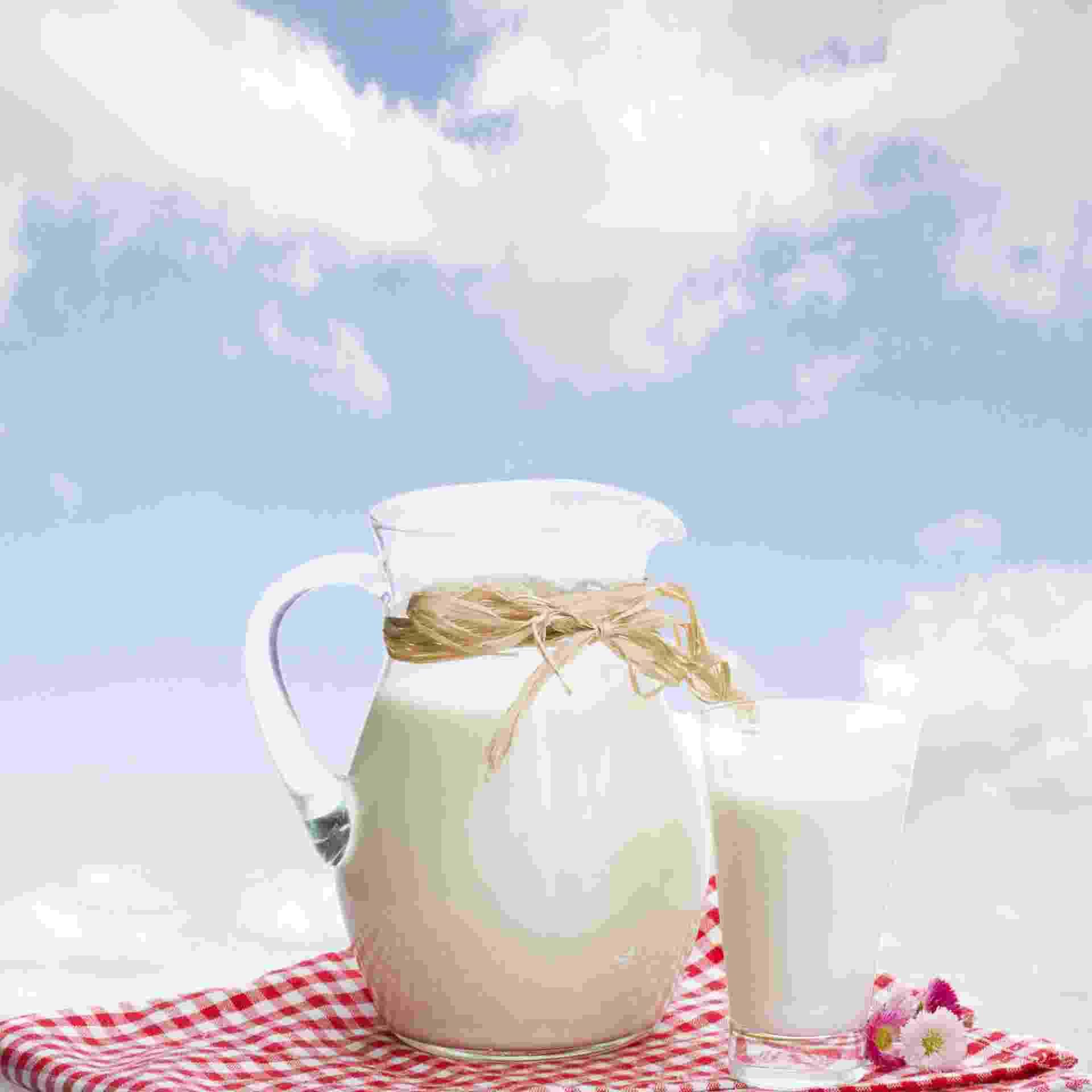 jarra e copo de leite, leite integral - Getty Images/iStockphoto