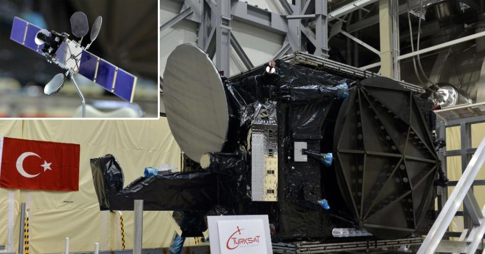 8.jan.2014 - O satélite de comunicação Turksat-4A, produzido pela empresa japonesa Mitsubishi Electric e entregue à companhia de espaço turca Truksat, é exibido após uma cerimônia que contou com primeiro-ministro turco, Recep Tayyip Erdogan, na fábrica Kamakura em Kamakura, subúrbio de Tóquio (Japão). O detalhe mostra uma miniatura do Turkstat-4A